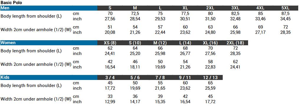 Basic Polo - Size chart website 2021