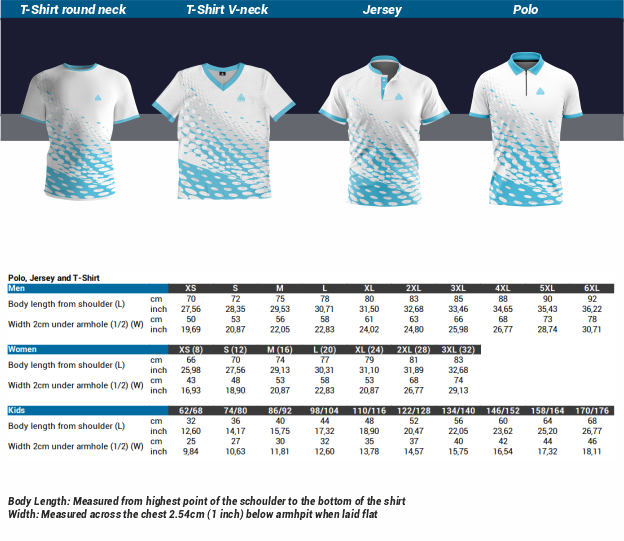 Size Chart Polo, Jersey, T-Shirt