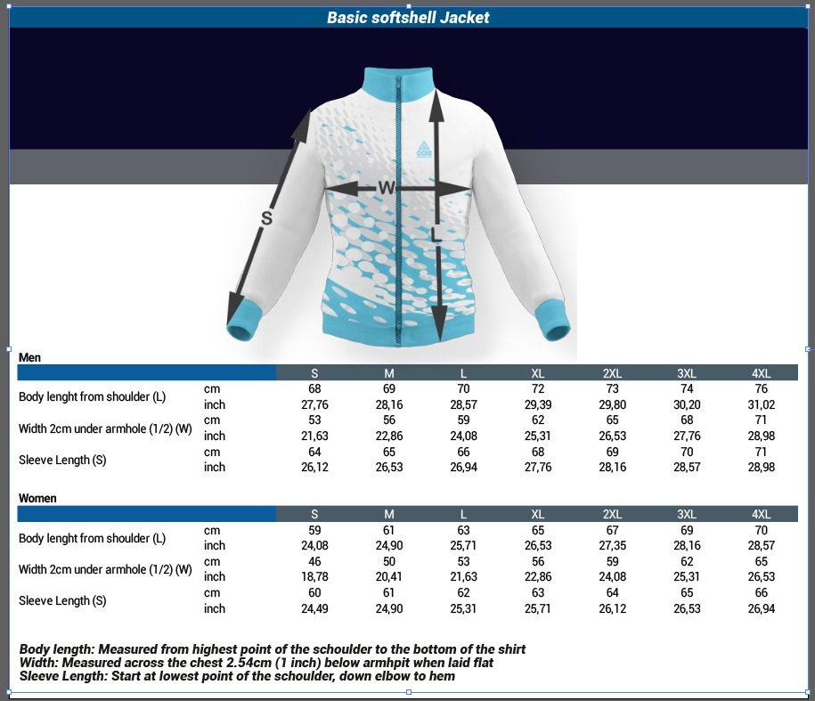 size chart basic softshell jacket