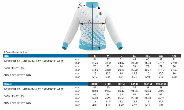 size chart basic 2 color jacket