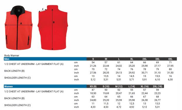 Size Chart Basic Bodywarmer