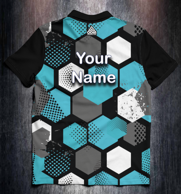 Shirt Odin Grunge Hexagon Blue Back