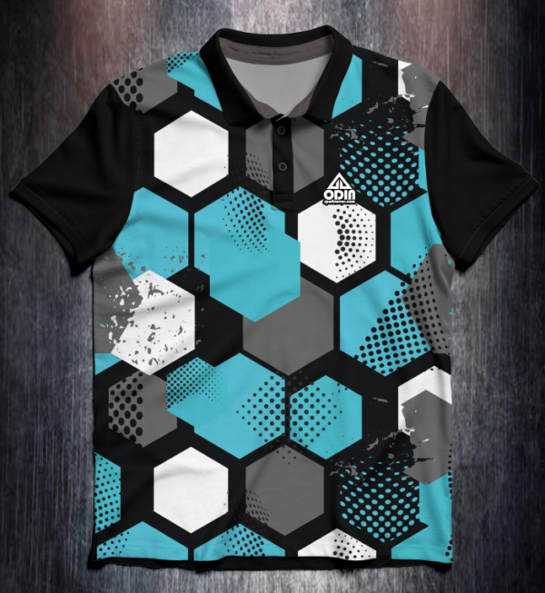 Shirt Odin Grunge Hexagon Blue Front